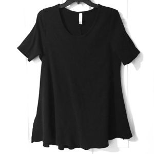 LuLaRoe Perfect Tee Solid Black Noir TShirt 2XL 2X